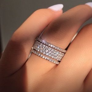 Wide Round Cut Sterling Silver Ring